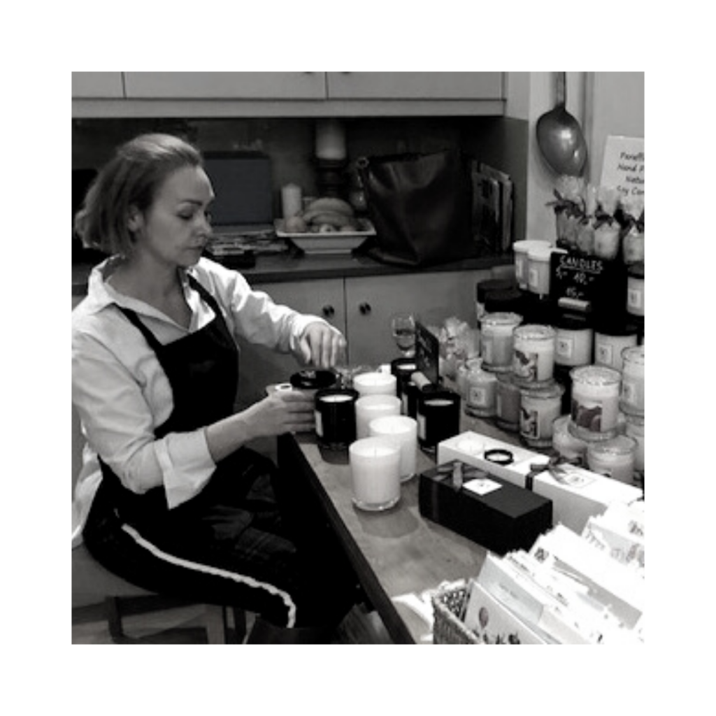 Ewa making candles in her studio