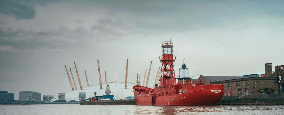Light Ship moored near milenium dome