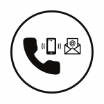 circle with phone, email icons
