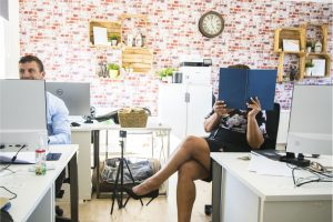 Office space in london with two professionals cheeky funny